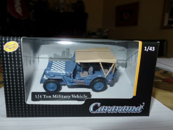 Cararama 1/43 Scale Jeep 1/4 Ton RAF Royal Air Force Dispersal Blue Check Bonnet